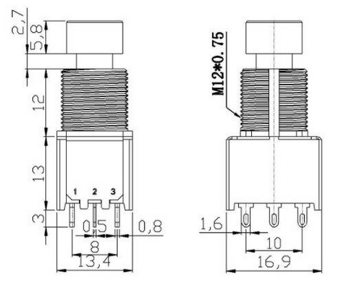 mini 3pdt latching foot switch  sw145
