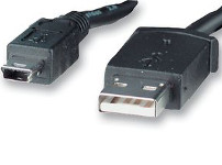 Mini USB Plug to USB A Plug lead 1m